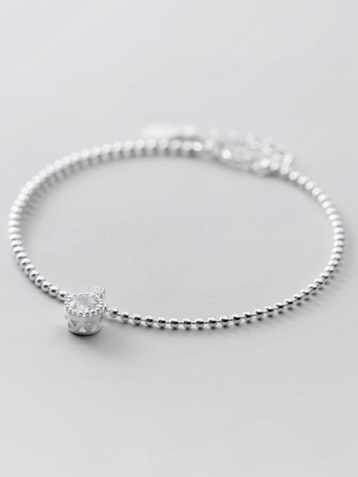 Rosh 925 Sterling Silver Cubic Zirconia Round Minimalist Beaded Bracelet 3