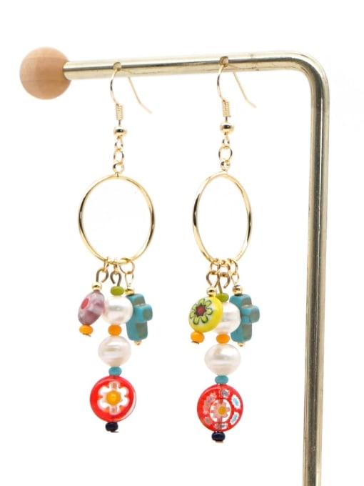 ZZ E200056G Stainless steel Freshwater Pearl Multi Color Glass beads Ethnic Long   Hook Earring
