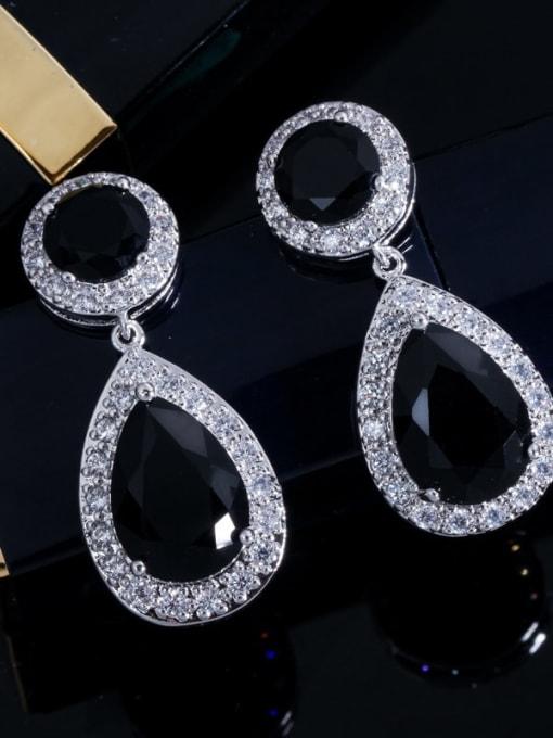 black Brass Cubic Zirconia Water Drop Luxury Drop Earring