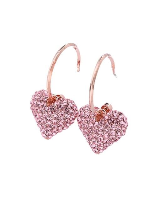 Luxu Brass Rhinestone Heart Dainty Hook Earring
