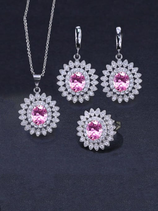 Pink Ring Size 7 Brass Cubic Zirconia  Dainty Geometric Earring Ring and Necklace Set