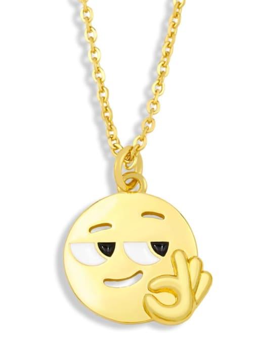 CC Brass Enamel Geometric Hip Hop Necklace 1