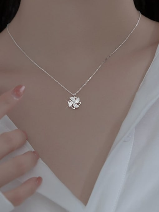 Rosh 925 Sterling Silver Cubic Zirconia Clover Minimalist Necklace 1