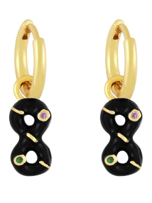 black Brass Rhinestone Enamel Number 8 Trend Huggie Earring