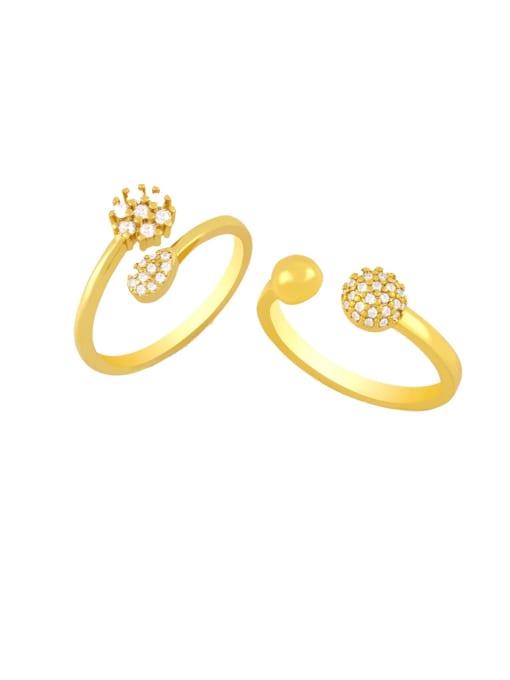 CC Brass Cubic Zirconia Ball Minimalist Band Ring 0