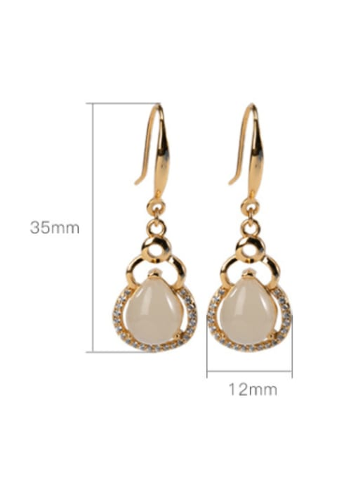 DEER 925 Sterling Silver Jade Irregular Vintage Hook Earring 3