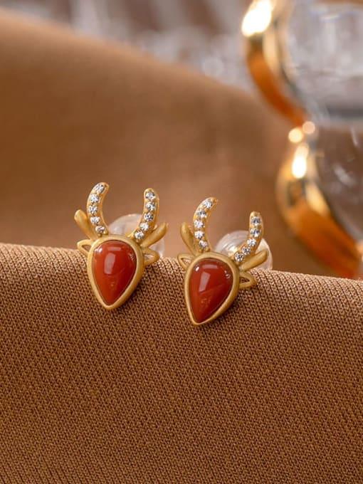 DEER 925 Sterling Silver Carnelian Water Drop Vintage Stud Earring 3