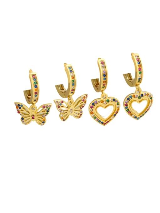 CC Brass Cubic Zirconia Heart Dainty Huggie Earring