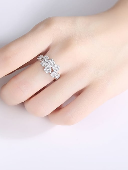 BLING SU Copper Cubic Zirconia Flower Luxury Band Ring 1