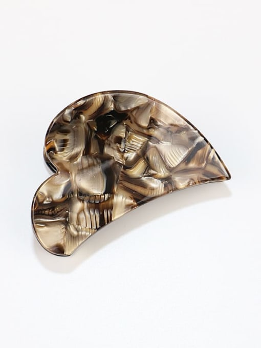 brown Cellulose Acetate Minimalist Heart Zinc Alloy Jaw Hair Claw