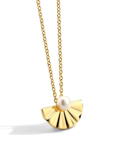 Gold folding fan Pearl Necklace Brass Imitation Pearl Irregular Vintage Necklace