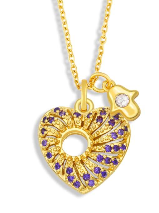 C Brass Cubic Zirconia Heart Vintage Necklace