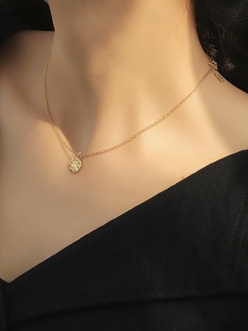 CHARME Brass Rhinestone Irregular Minimalist Necklace 1