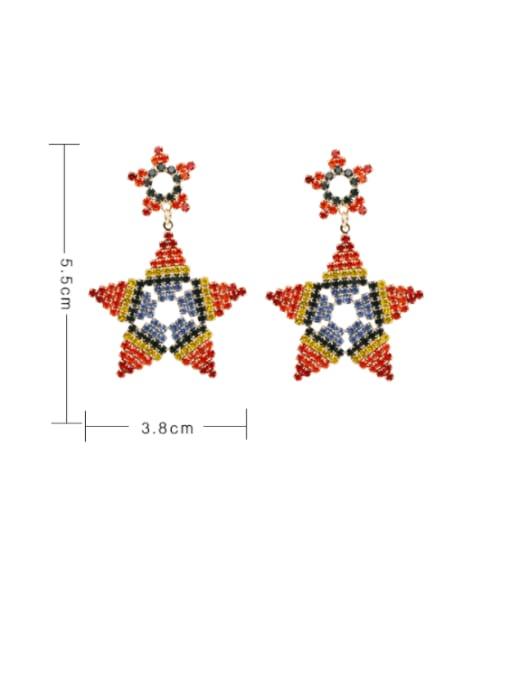 golden Brass Rhinestone Star Ethnic Drop Earring