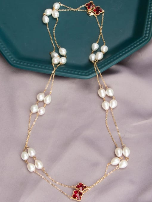 RAIN Brass Freshwater Pearl Geometric Vintage Multi Strand Necklace 2