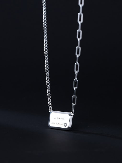 Rosh 925 Sterling Silver Geometric Letter Minimalist Necklace 1