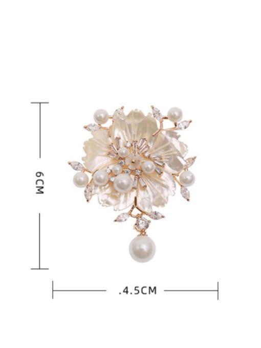 Luxu Brass Cubic Zirconia Flower Luxury Brooch 4