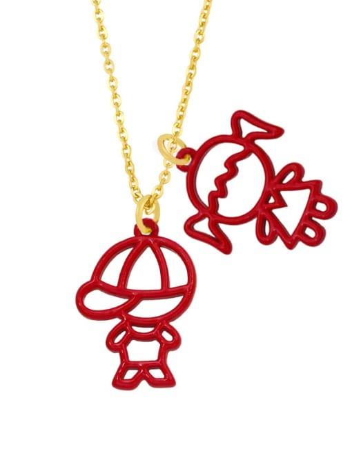 gules Brass Enamel Cute Angel  Pendant Necklace