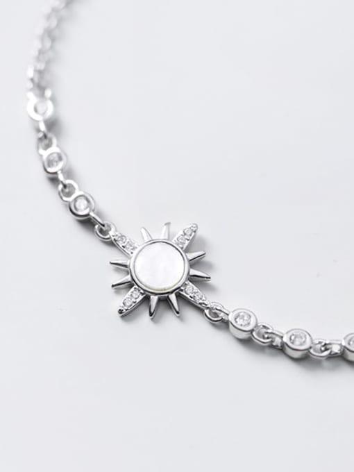Rosh 925 Sterling Silver Shell Flower Minimalist Link Bracelet 2