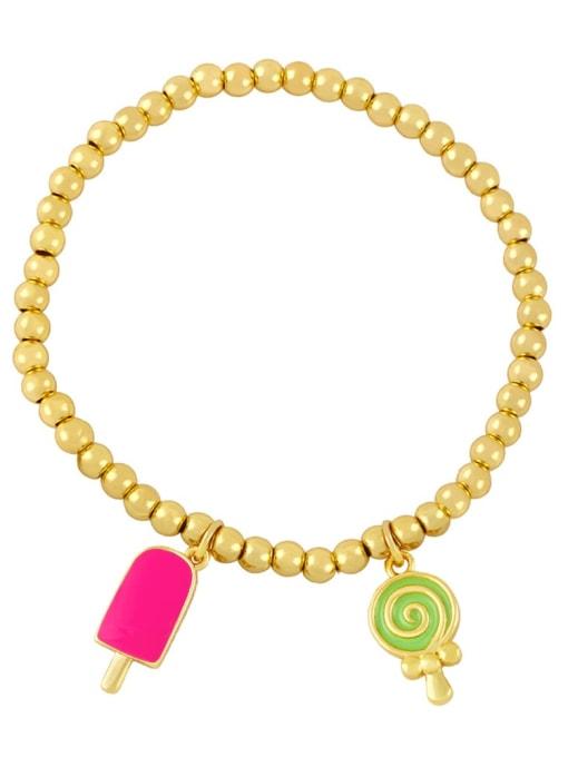 Rose red and green Brass Enamel Heart Vintage Beaded Bracelet