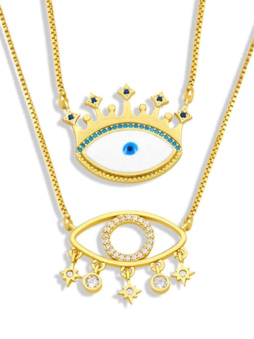 CC Brass Cubic Zirconia Evil Eye Hip Hop Necklace 0