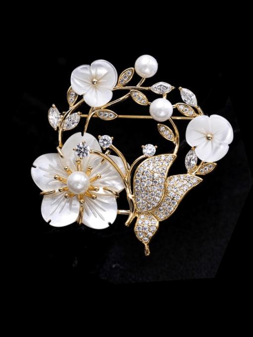 golden Brass Cubic Zirconia Flower Statement Brooch