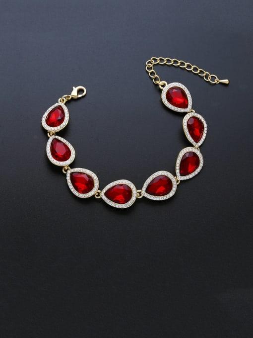 golden red Brass Glass Stone Water Drop Luxury Bracelet
