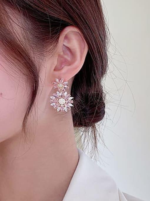 Luxu Brass Cubic Zirconia Flower Luxury Drop Earring 1