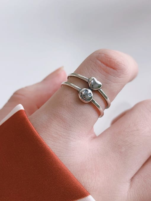Boomer Cat 925 Sterling Silver Smiley Minimalist Stackable Ring 1