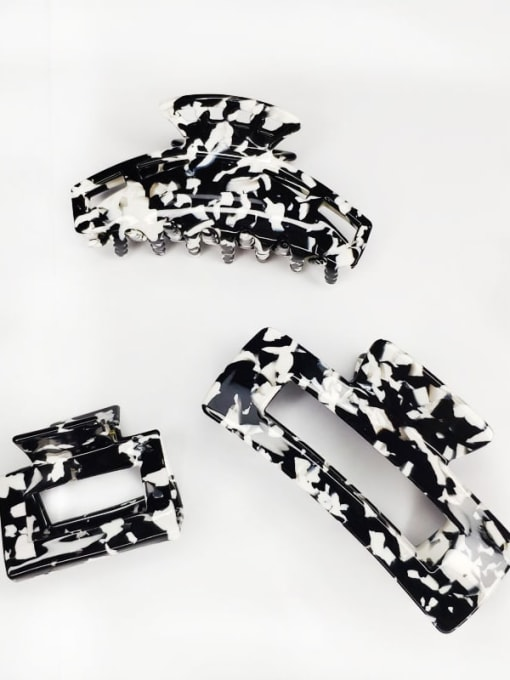 HUIYI Cellulose Acetate Vintage Geometric Zinc Alloy Jaw Hair Claw 3