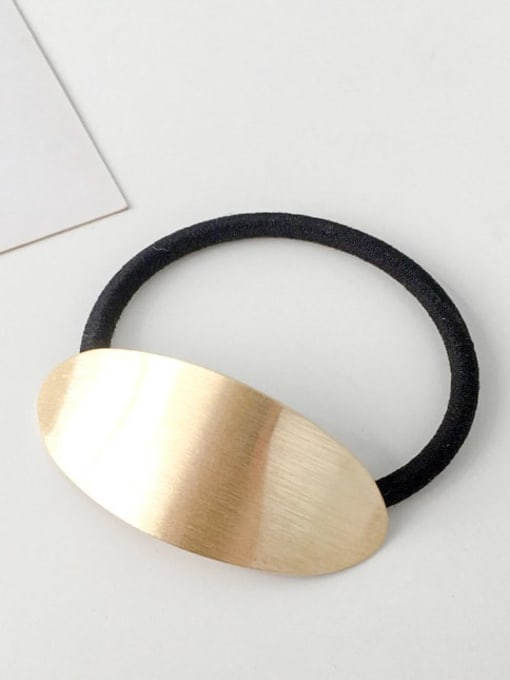 10 golden oval Rubber band Minimalist Geometric Alloy Hair Rope