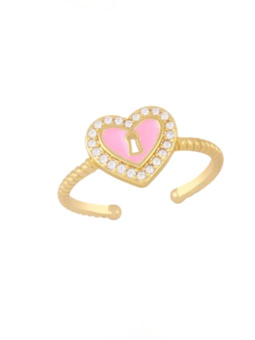 Pink Brass Enamel Heart Minimalist Band Ring