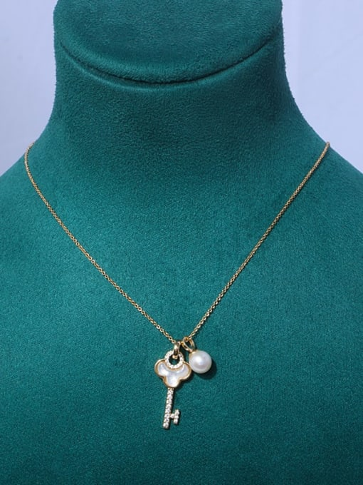 key Brass Freshwater Pearl Cloud Minimalist Necklace