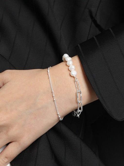 DAKA 925 Sterling Silver Freshwater Pearl Geometric Vintage Link Bracelet 2