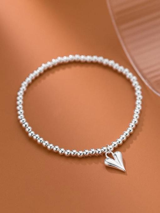 Rosh 925 Sterling Silver Heart Minimalist Beaded Chain Bracelet