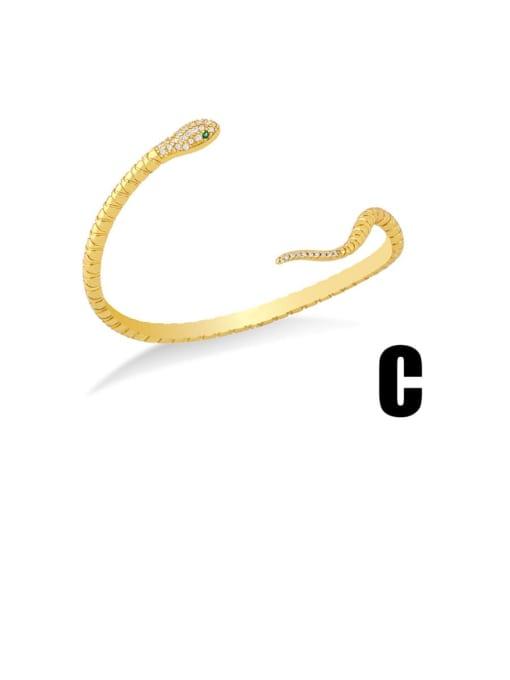 C Brass Cubic Zirconia Snake Vintage Cuff Bangle