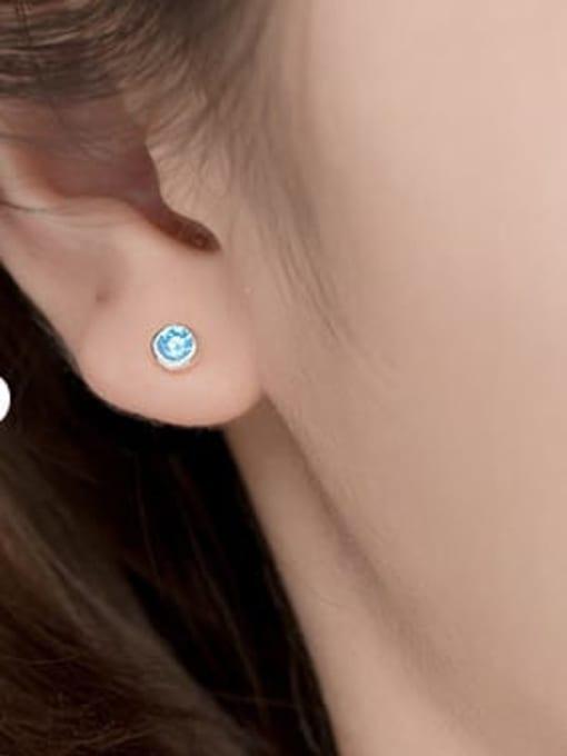 pink 925 Sterling Silver Rhinestone Round Minimalist Stud Earring