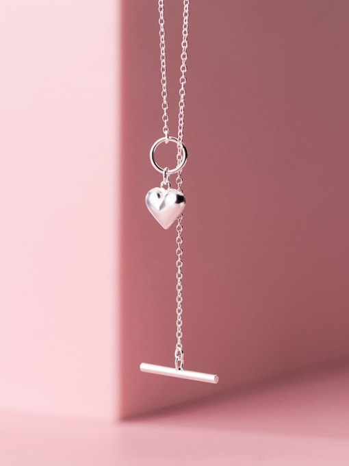 Rosh 925 Sterling Silver Heart Minimalist Lariat Necklace 2