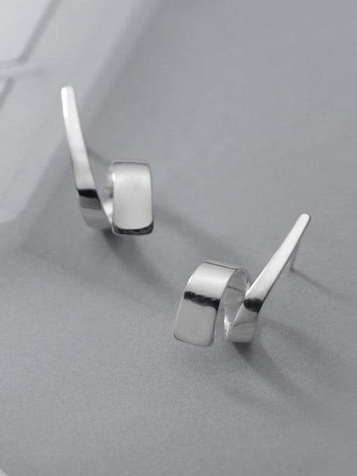 Rosh 925 Sterling Silver Irregular Line Minimalist Stud Earring 1
