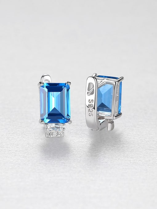 CCUI Chicago Style 925 Sterling Silver Cubic Zirconia Geometric Luxury Stud Earring 2