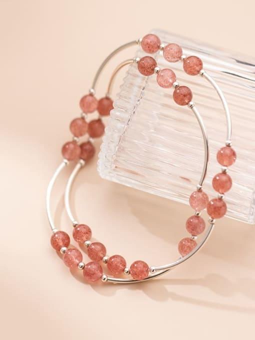 Rosh 925 Sterling Silver Round Strawberry crystal Minimalist Stretch Bracelet 2