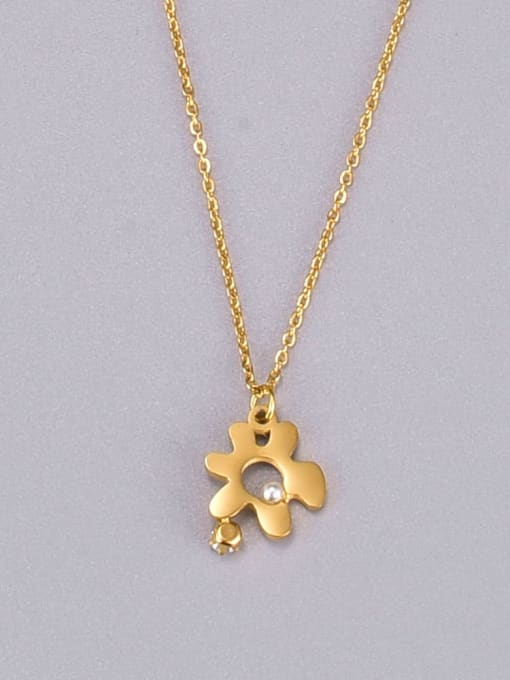 A TEEM Titanium Steel Hollow Flower Minimalist Necklace 0