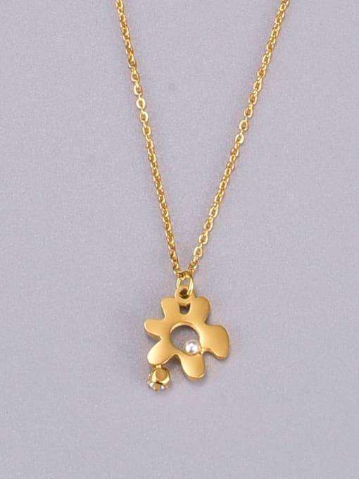 A TEEM Titanium Steel Hollow Flower Minimalist Necklace
