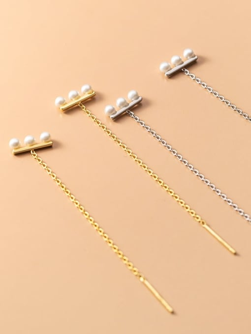 Rosh 925 Sterling Silver Imitation Pearl Tassel Minimalist Threader Earring 2