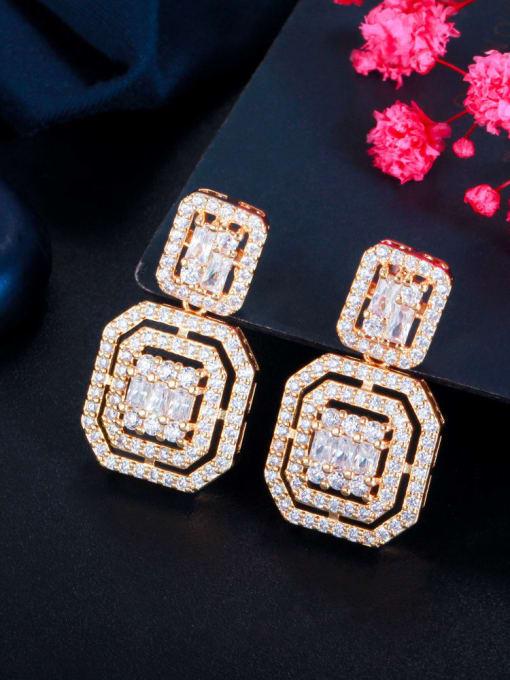 L.WIN Brass Cubic Zirconia Geometric Luxury Drop Earring 1