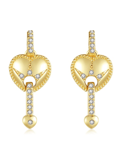 BLING SU Brass Cubic Zirconia Heart Vintage Drop Earring