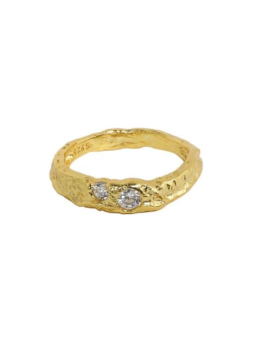 18K Gold 925 Sterling Silver Rhinestone Irregular Minimalist Band Ring