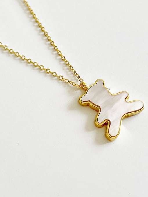 Boomer Cat 925 Sterling Silver Shell Bear Minimalist Necklace 2