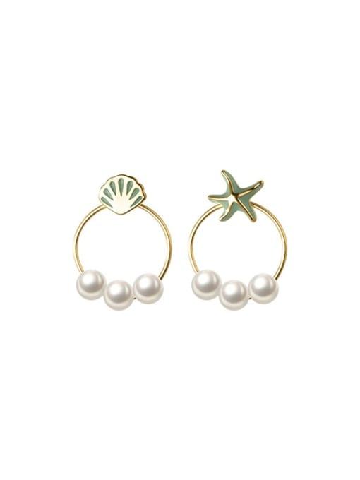 Rosh 925 Sterling Silver Imitation Pearl Enamel Star Vintage Stud Earring