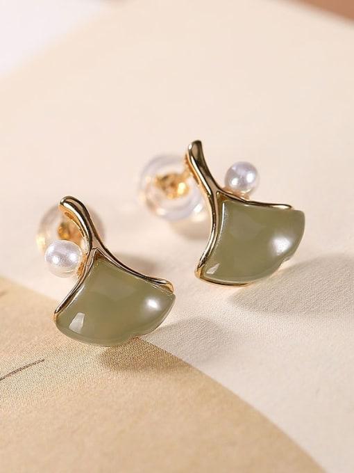 DEER 925 Sterling Silver Jade Leaf Vintage Stud Earring 2